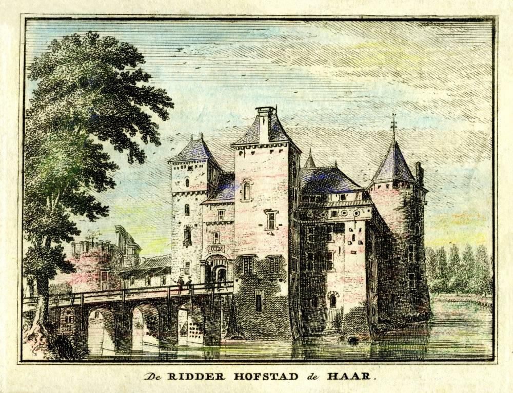 Kasteel De Haar in Haarzuilens. Tekening Jan de Beijer, gravure Hendrik Spilman (Uit: Het Verheerlykt Nederland, Isaac Tirion, 1745/1774)